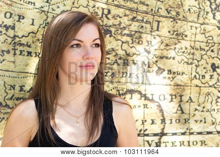 Portrait Of A Girl From An Old Map