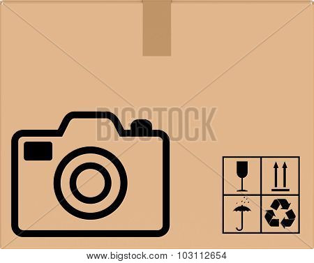 background cardboard boxes with camera icon