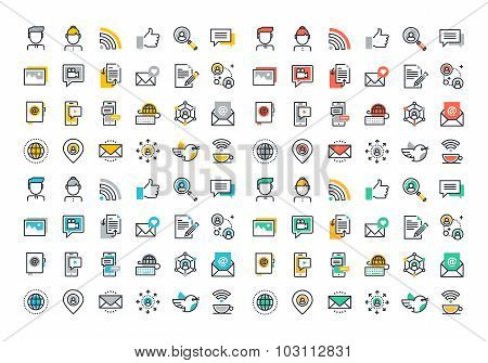 Flat line colorful icons collection of social network