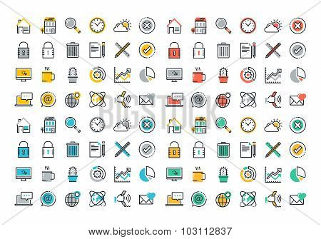 Flat line colorful icons collection of website elements