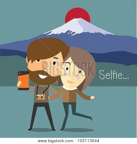 selfie with girlfriend at Fuji mountain Japan
