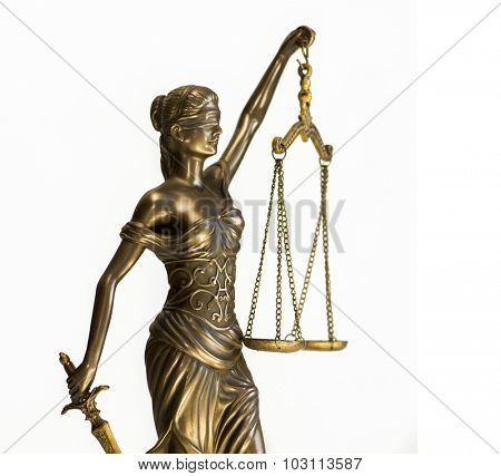 Scales of justice law concept image isolated against white