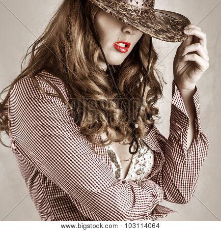 Beautiful Cowgirl Style Woman Wearing Cowboy Hat