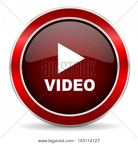 video red circle glossy web icon, round button with metallic border