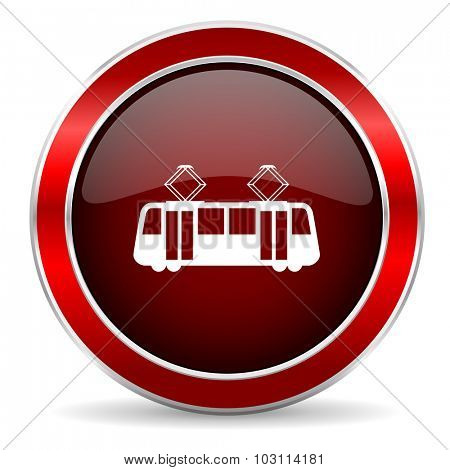 tram red circle glossy web icon, round button with metallic border