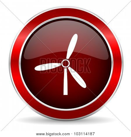 windmill red circle glossy web icon, round button with metallic border