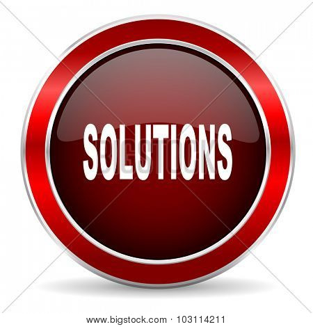 solutions red circle glossy web icon, round button with metallic border