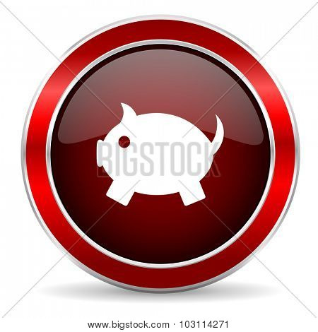 piggy bank red circle glossy web icon, round button with metallic border