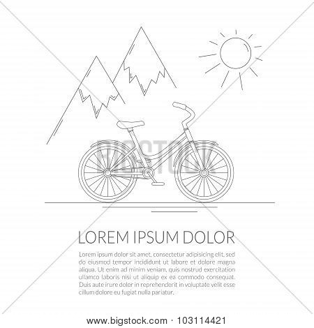 Flat line art bicycle design on the road with mountains view