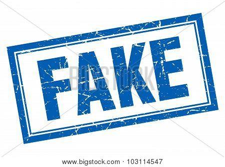 Fake Blue Square Grunge Stamp On White