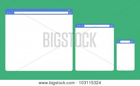 Flat blank browser windows for different devices. Template for your content