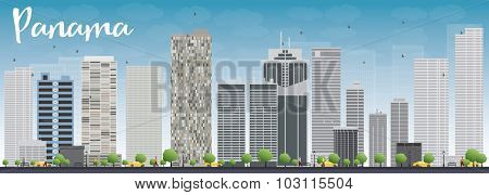 Panama City skyline with grey skyscrapers and blue sky. Vector Illustration