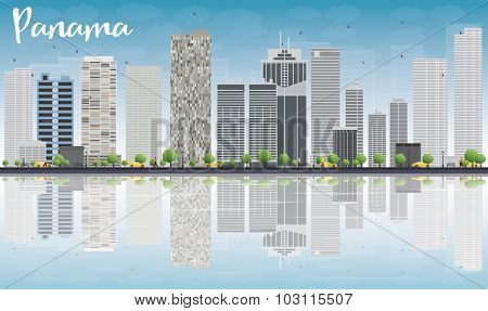 Panama City skyline with grey skyscrapers, blue sky and reflections. Vector Illustration