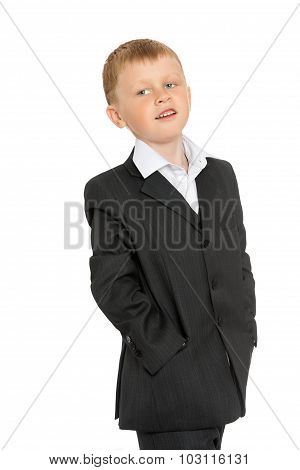 little boy in a suit