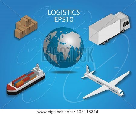 Logistics Cargo Delivery Flat 3D Isometric