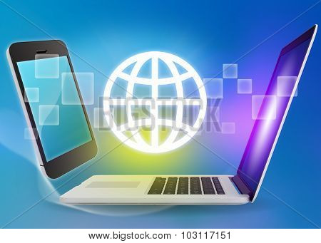 Laptop and phone with globe icon on a blue background