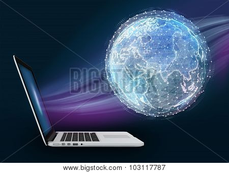 Notebook and abstract digital world map of the global telecommunications network