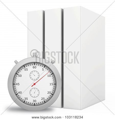 Office blank folder with stopwatch in front. White background