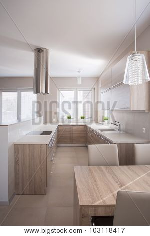 Kitchen Room With Ventilation Hood