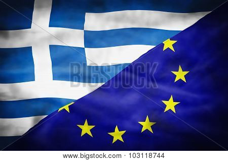 Greece and European Union mixed flag.