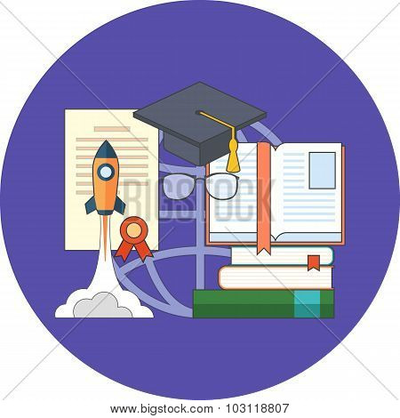 Potential Of Education Concept. Flat Design.