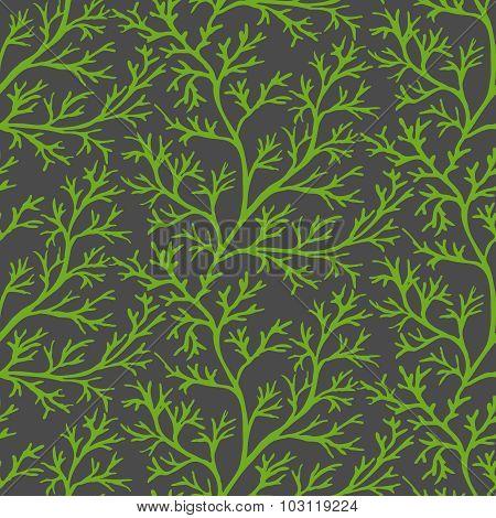 Green Dill Ornate Seamless Pattern