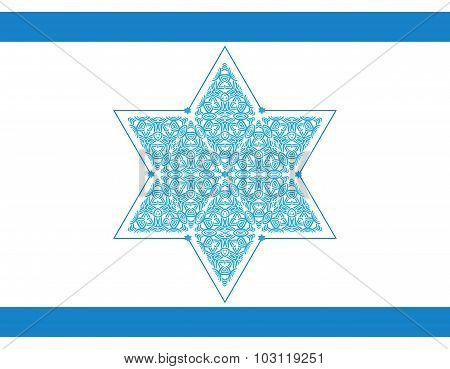 Ornamented Star Of David Isolated