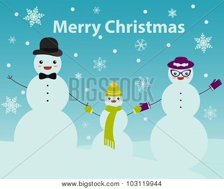 Family snowmen. Christmas card with snowman. Vector illustration