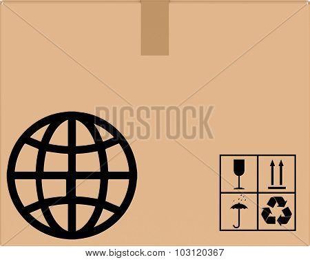 background cardboard box with globe icon.