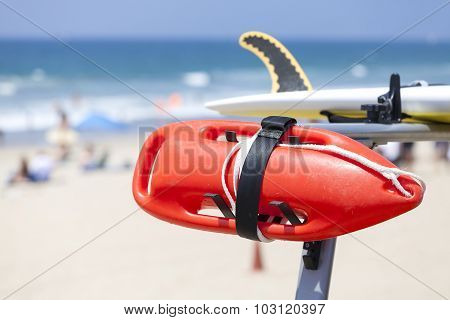 Lifeguard Red Buoy On A Beach, Shallow Depth Of Field.