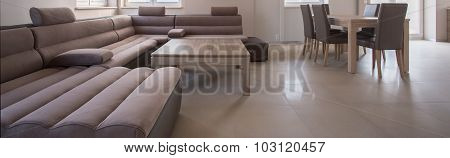 Large Angled Sofa In Lounge