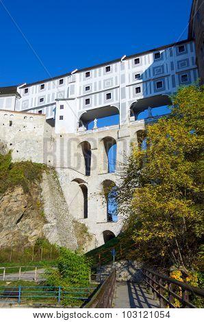 View of the castle of Cesky Krumlov, South Bohemia, Czech Republic.