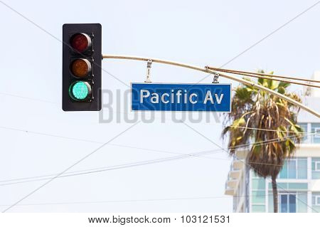 Pacific Avenue Street Sign And Traffic Lights, California, Usa.