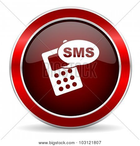 sms red circle glossy web icon, round button with metallic border