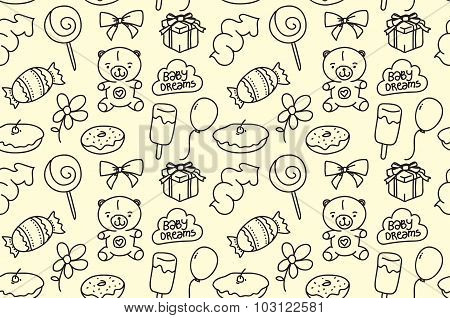 Children seamless texture. Baby theme pattern with teddy bear and sweets. Hand drawn doodle design.