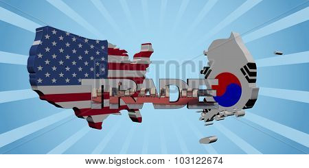 American and South Korean map flags with trade text illustration