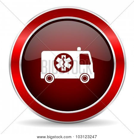 ambulance red circle glossy web icon, round button with metallic border