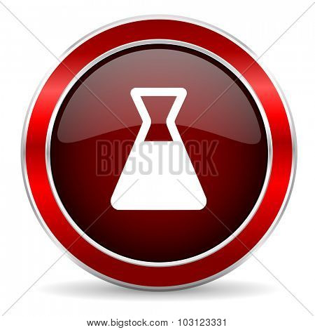 laboratory red circle glossy web icon, round button with metallic border