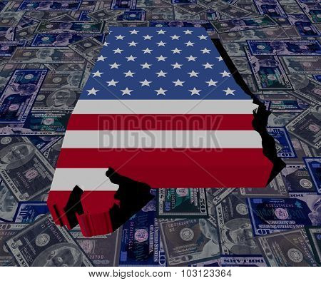 Alabama Map flag on dollars illustration