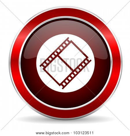 film red circle glossy web icon, round button with metallic border