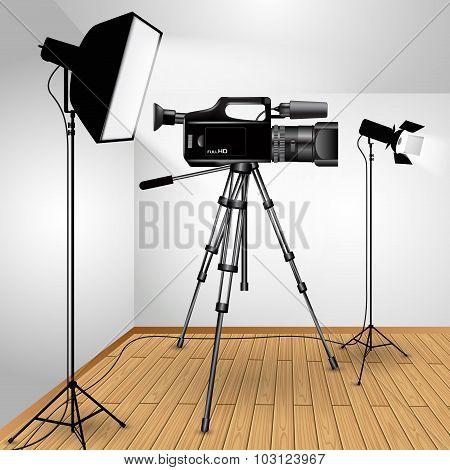 Video Camera On Tripod