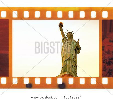 Vintage Old 35Mm Frame Photo Film With Ny Statue Liberty, Usa