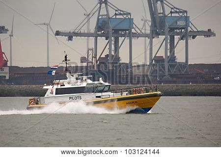PORT OF ROTTERDAM, THE NETHERLANDS -  SEPTEMBER 18: Pilot boat on the way to help a ship come into port on the 18th of September 2015.