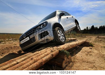KIEV, UKRAINE - SEPTEMBER 11: An unidentified competitor participates in Volkswagen test drive on September 11, 2010 in Kiev, Ukraine.