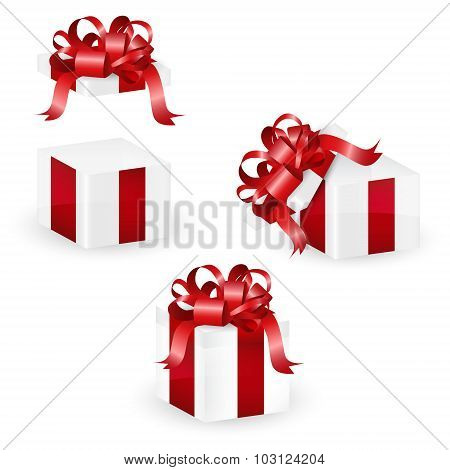 Set of white christmas gift box with red ornate ribbon, vector illustration