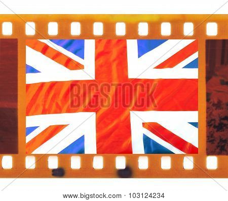 Vintage Old 35Mm Frame Photo Film With Uk, British Flag, Union Jack