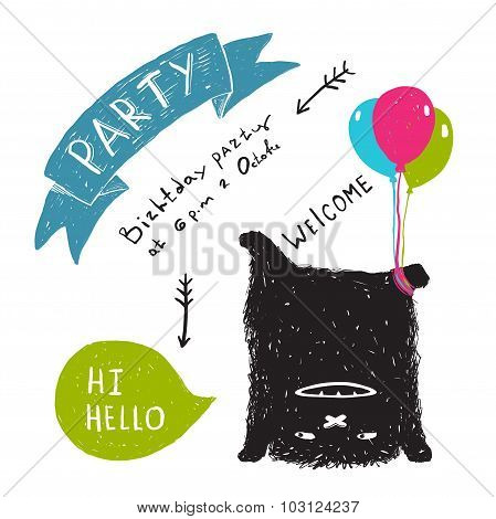 Funny Cute Little Black Monster Party Greeting Card or Invitation