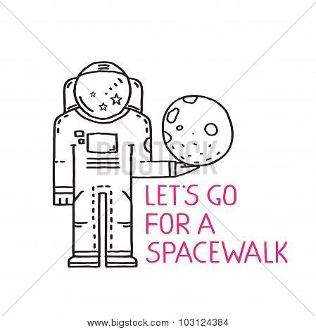 Spacewalk Astronaut Line Art Romantic Illustration with Lettering