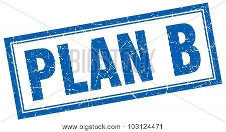 Plan B Blue Square Grunge Stamp On White