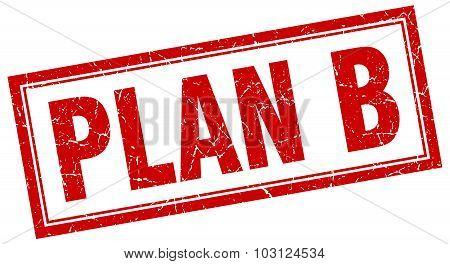 Plan B Red Square Grunge Stamp On White